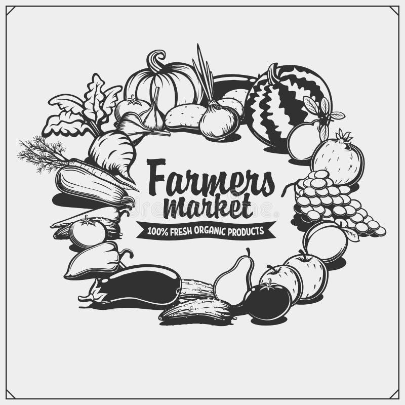Emblema do mercado dos fazendeiros Alimento orgânico do vegetariano Frutas e verdura ilustração do vetor