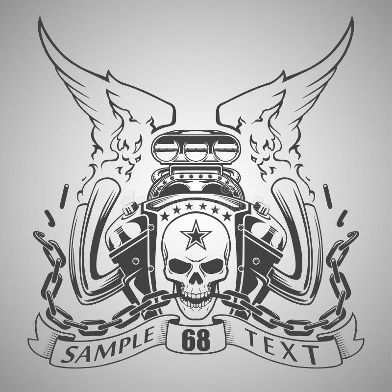 Emblema do motor ilustração royalty free