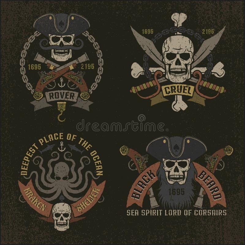 Emblema do pirata no estilo do grunge ilustração stock