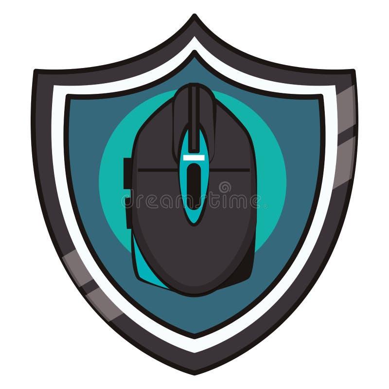 Emblema do protetor do dispositivo de rato do Gamer ilustração royalty free