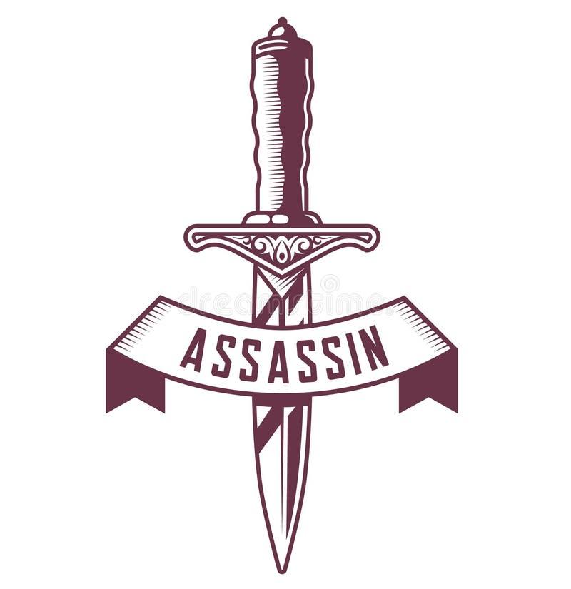 Emblema do punhal com a fita no fundo branco tattoo ilustração stock