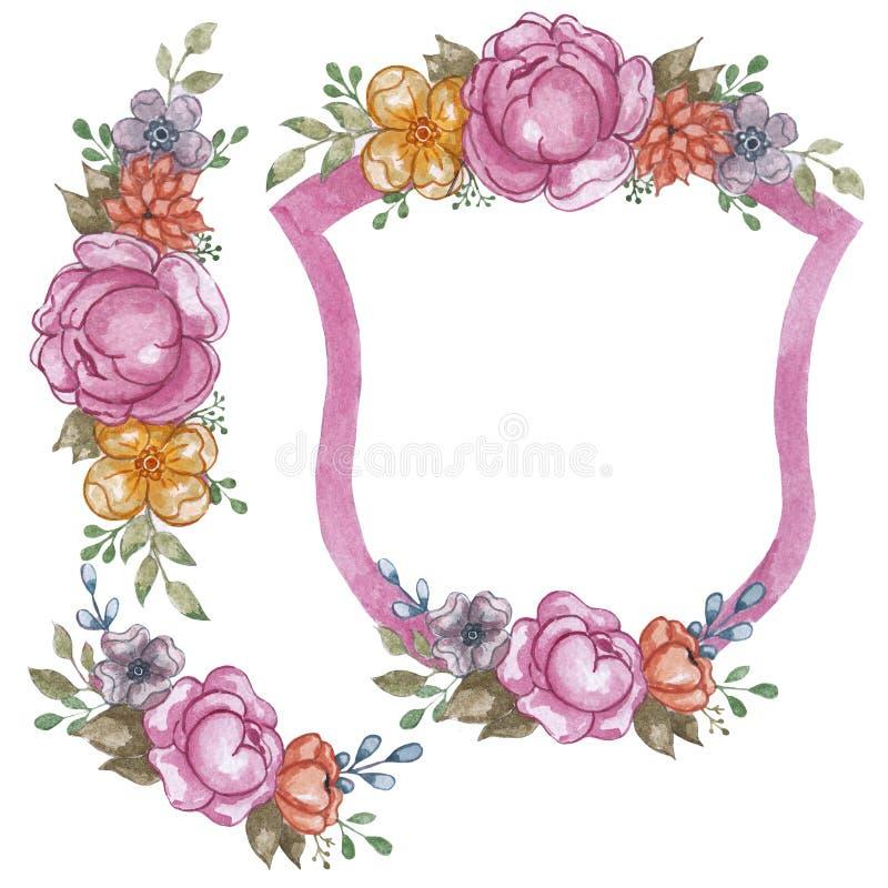 Emblema do rosa da flor da aquarela Entregue a tração a ilustração floral para o convite, o casamento, os cartões, o logotipo ou  fotos de stock