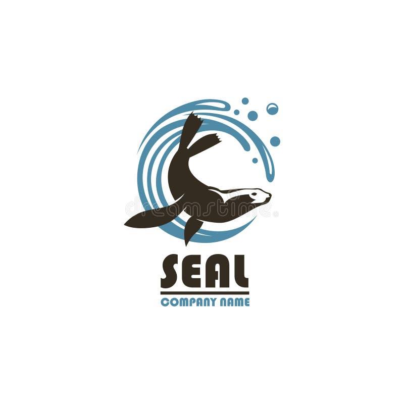 Emblema do selo do mar ilustração royalty free