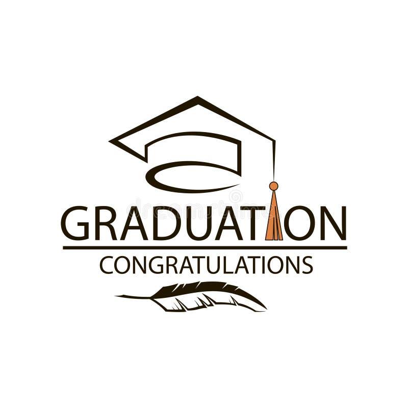 Emblema do tampão da graduação ilustração stock