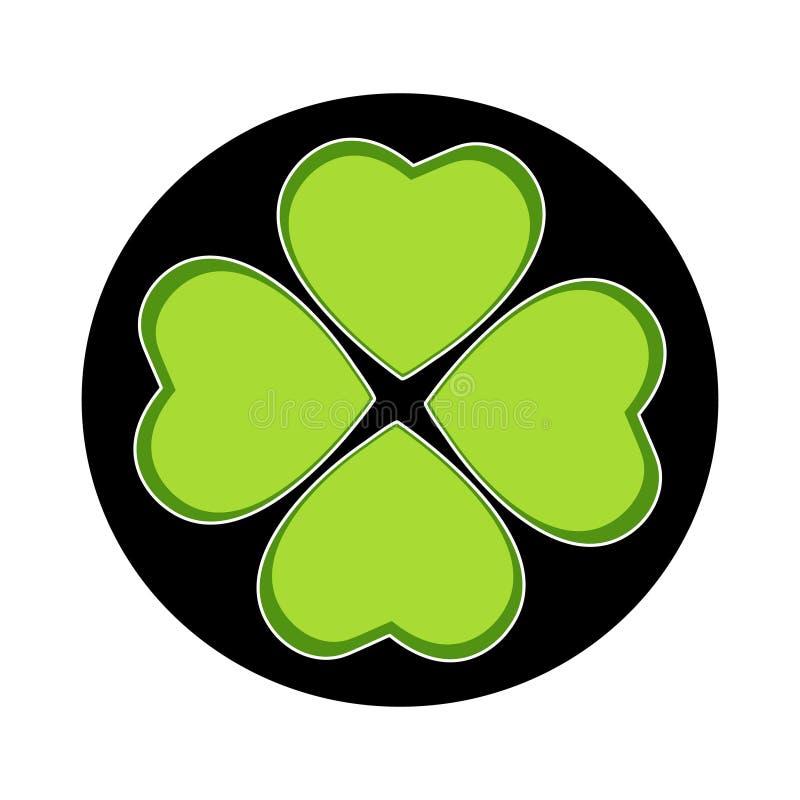 Emblema do trevo de quatro folhas no círculo preto ilustração royalty free