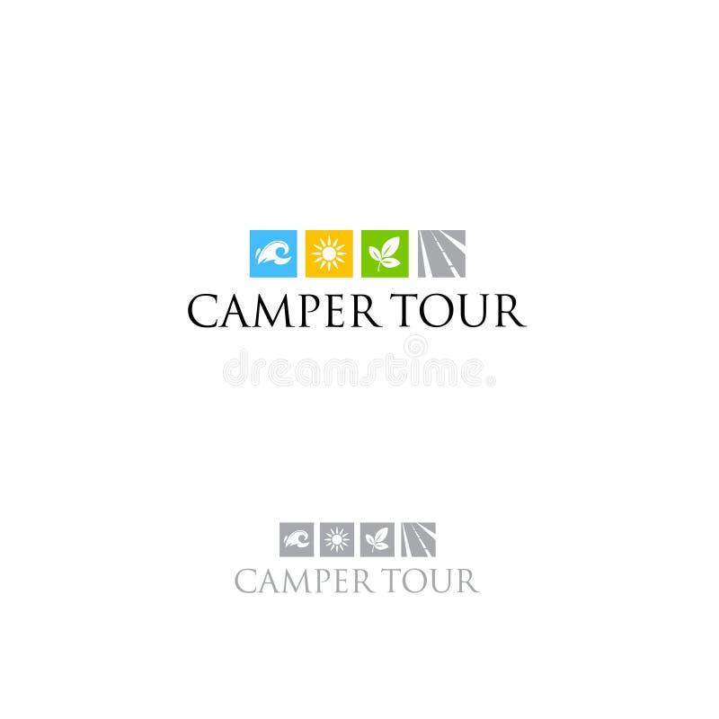 Emblema do turismo Logo Campers Logotipo do curso Símbolos da água, da estrada, da floresta e do sol em um fundo claro ilustração stock