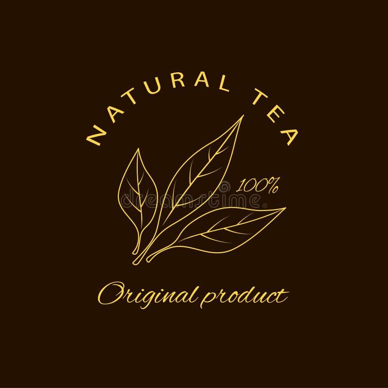 Emblema do vetor - a beleza e os cosméticos lubrificam - chá Logotipo no estilo linear ilustração stock