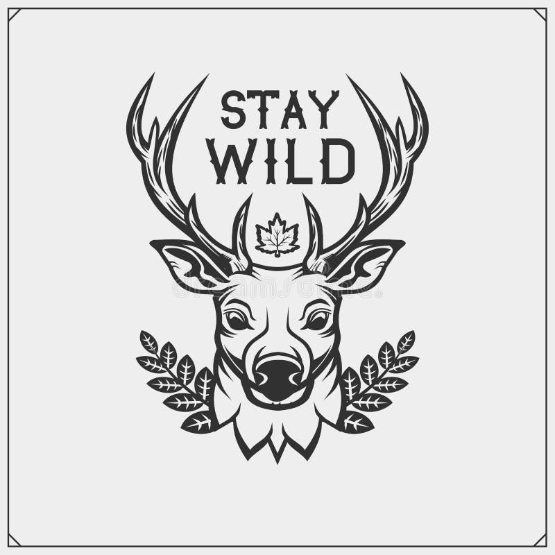 Emblema do vetor com veado ou cervos para o clube de esporte Projeto da c?pia para o t-shirt ilustração do vetor