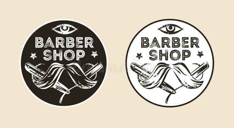 Emblema do vetor da barbearia do vintage, crachá, sinal, disposição da etiqueta Variações de duas cores ilustração stock