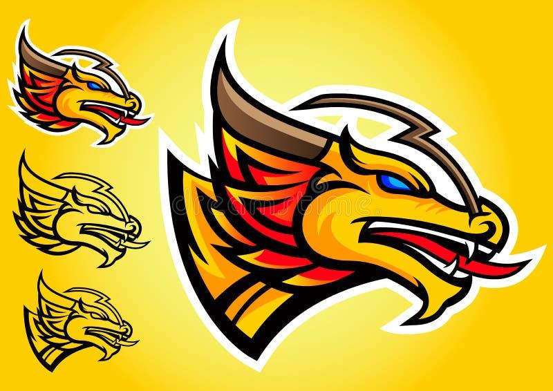 Emblema do vetor do logotipo do dragão do ouro ilustração royalty free