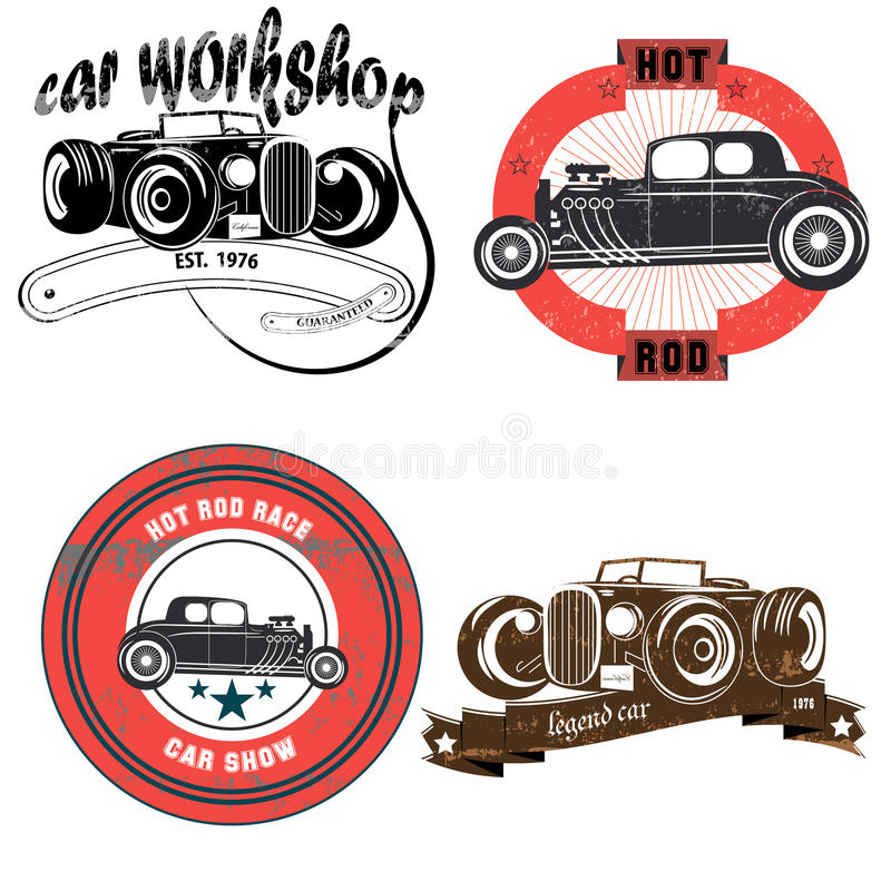 Emblema do vintage com carros retros ilustração stock