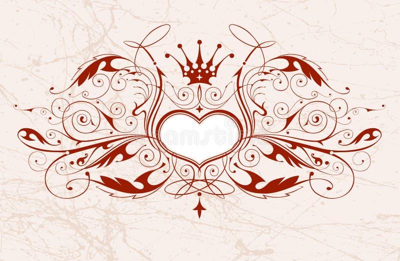 Emblema do vintage com coração ilustração royalty free