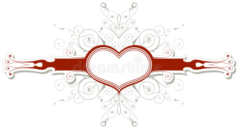 Emblema do vintage com coração ilustração do vetor