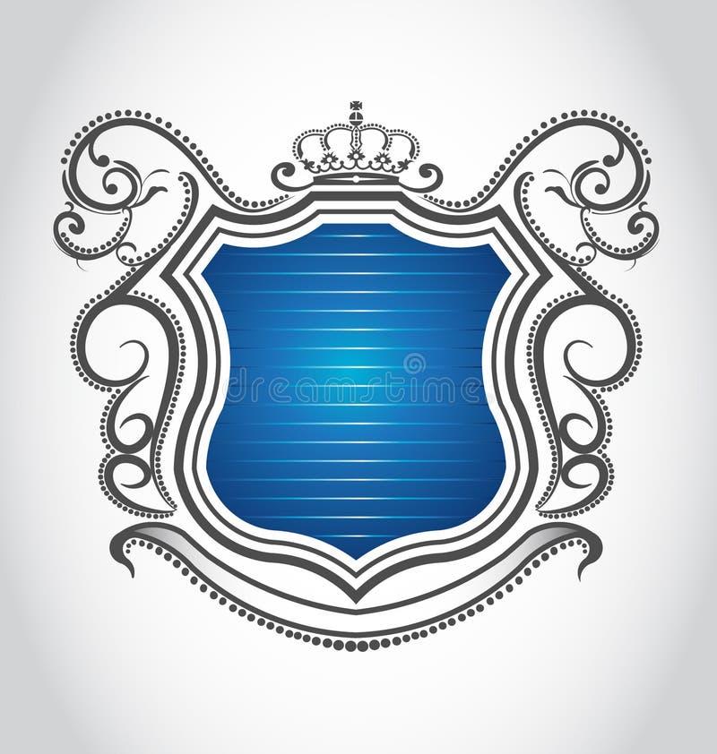 Emblema do vintage com coroa ilustração royalty free