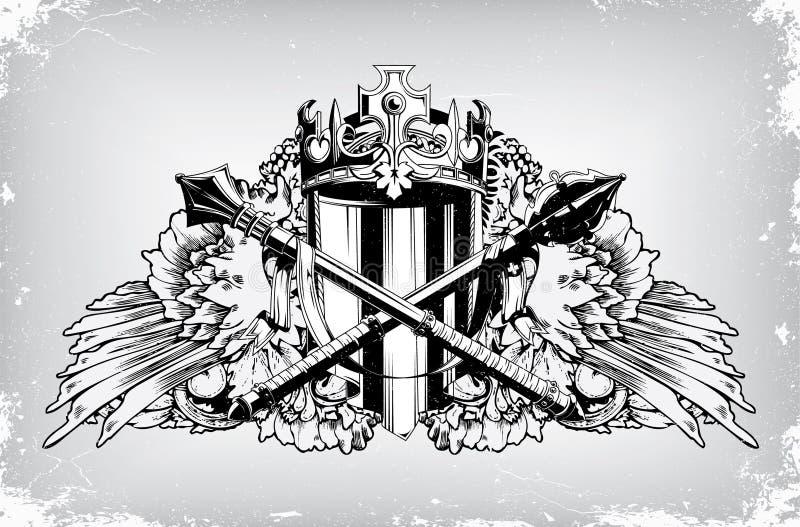 Emblema do vintage com crista ilustração royalty free