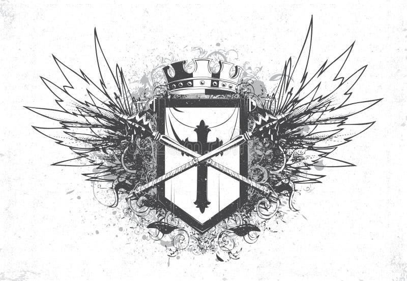 Emblema do vintage com crista ilustração do vetor