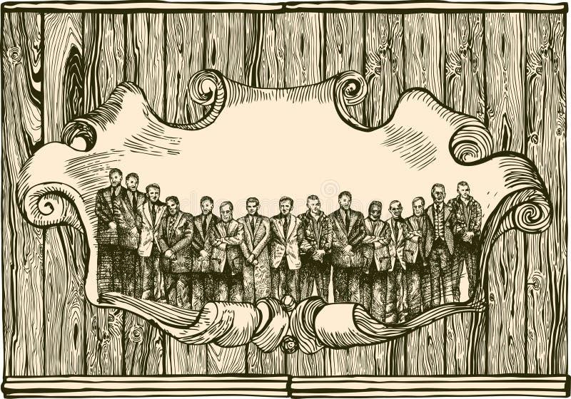 Emblema do vintage com povos ilustração royalty free