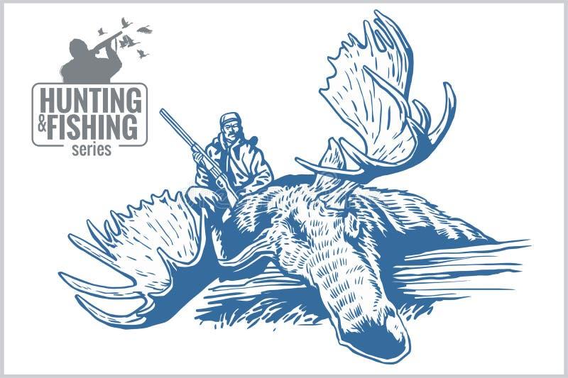Emblema do vintage da caça e da pesca ilustração stock