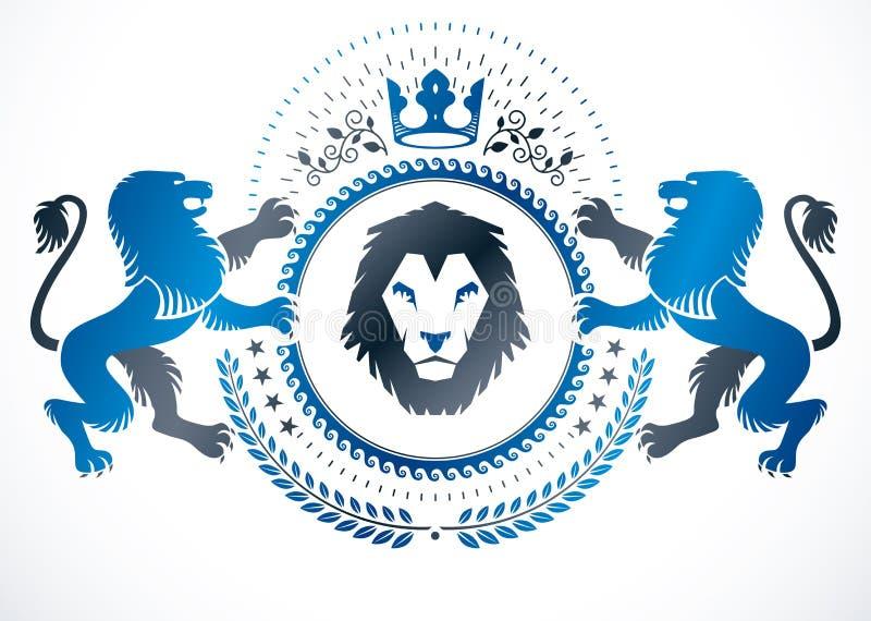 Emblema do vintage feito em heráldico do vetor composto com ilustração selvagem do leão e a coroa imperial, vetor heráldico ilustração royalty free