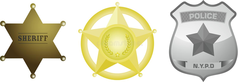 Emblema do xerife da polícia ilustração stock