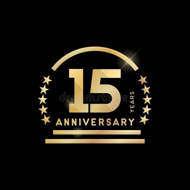 emblema dorato di quindicesimo anniversario di anno Innesta l'icona illustrazione vettoriale