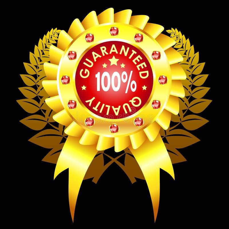 Emblema dourado da qualidade com fita ilustração stock