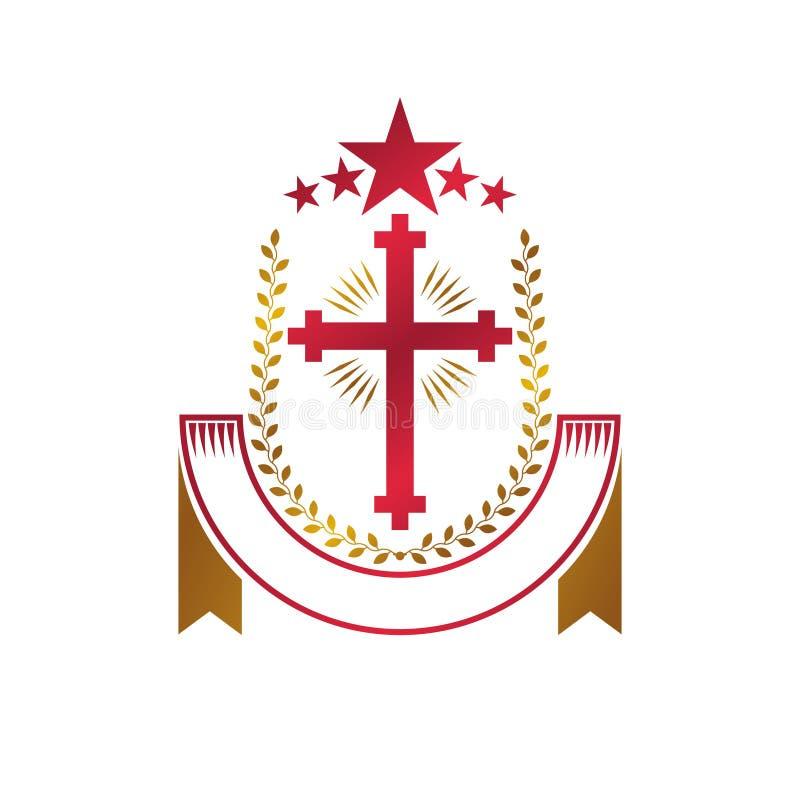 Emblema dourado de Christian Cross criado com a estrela vermelha, wrea do louro ilustração stock