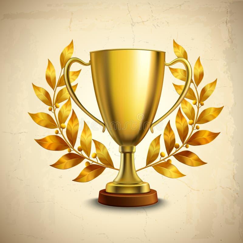 Emblema dourado do troféu ilustração royalty free