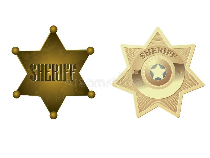 Emblema dourado do xerife ilustração royalty free