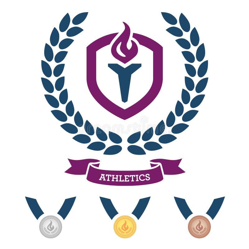 Emblema e medalhas do atletismo ilustração royalty free