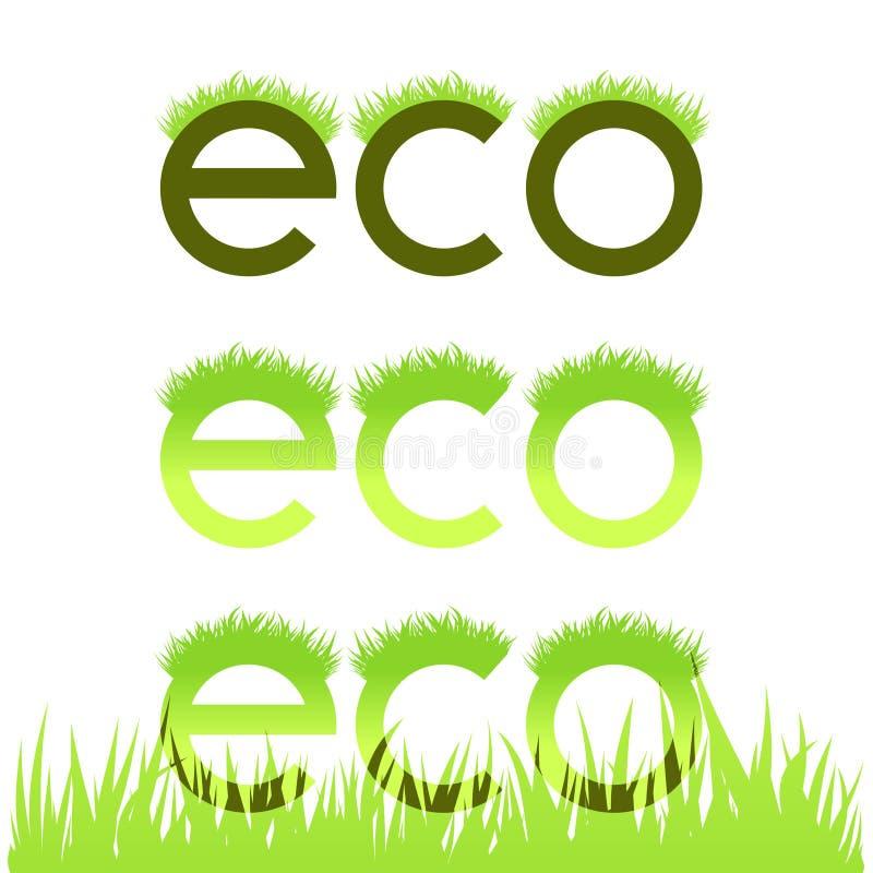 Emblema ecológico gramíneo isolado no branco ilustração do vetor