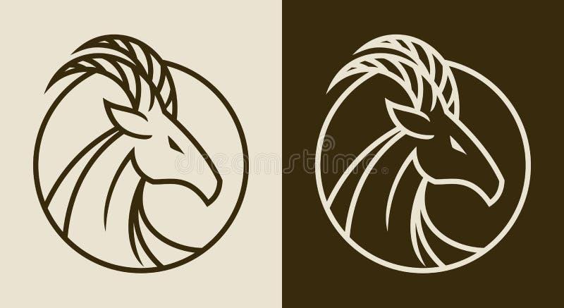 Emblema elegante da cabeça da cabra fotografia de stock