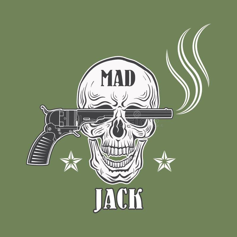 Emblema enojado del vaquero de Jack ilustración del vector