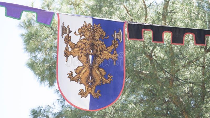emblema, escudos de armas medievales en un arte antiguo tradicional justo fotografía de archivo libre de regalías