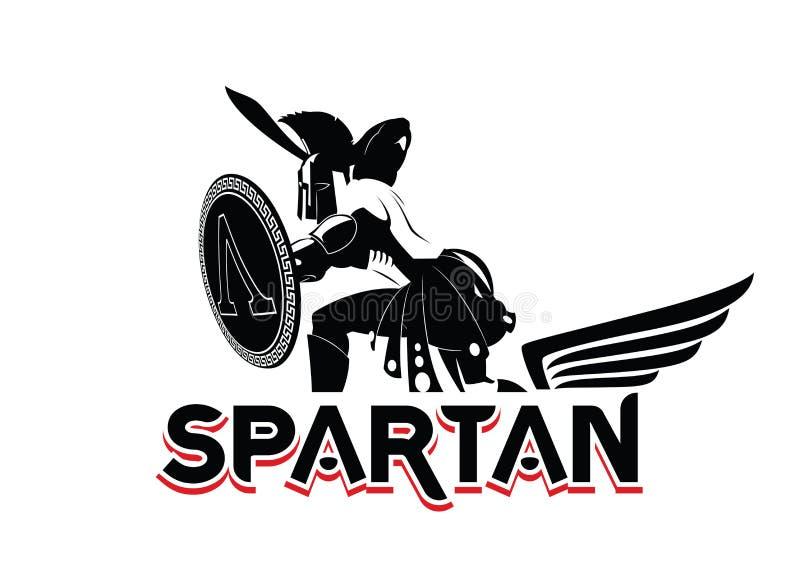Emblema espartano no capacete e no protetor Logotipo preto e branco ilustração royalty free