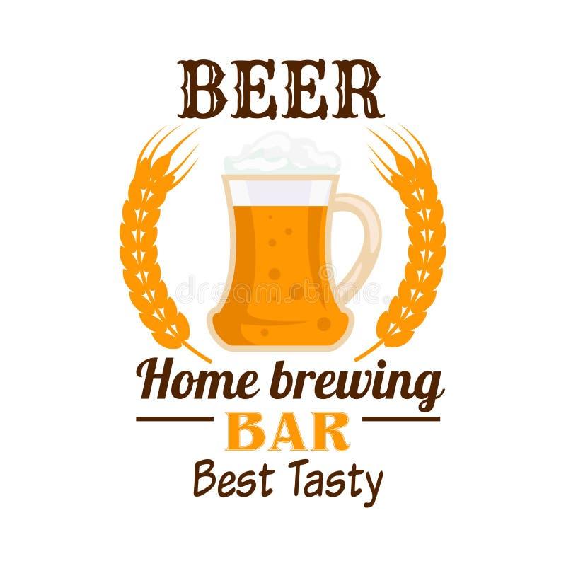 Emblema espumoso de la taza de cerveza con los oídos del trigo stock de ilustración