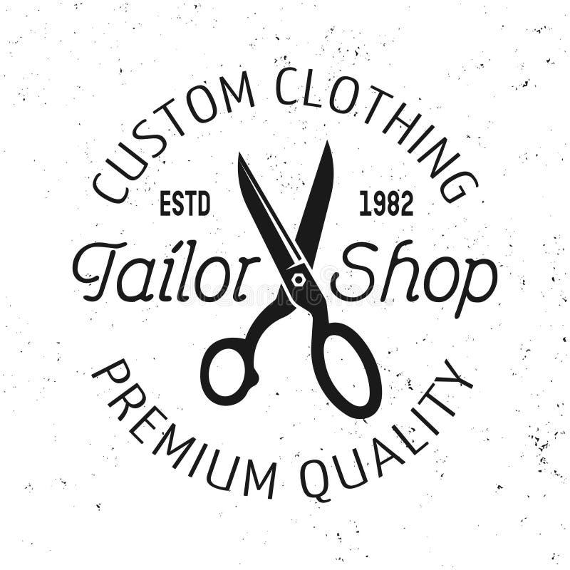 Emblema, etiqueta, crachá ou logotipo do vetor da loja do alfaiate ilustração do vetor