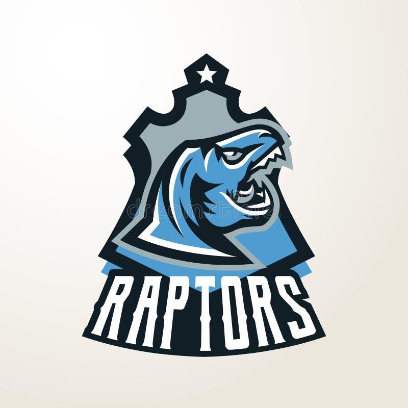 Emblema, etiqueta engomada, insignia, logotipo principal del dinosaurio Depredador jurásico, una bestia peligrosa, un animal exti libre illustration
