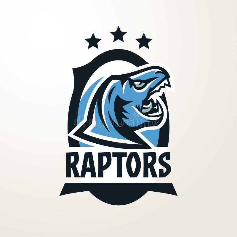 Emblema, etiqueta engomada, insignia, logotipo principal del dinosaurio Depredador jurásico, una bestia peligrosa, un animal exti stock de ilustración