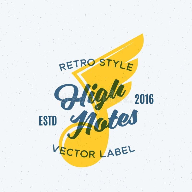 Emblema, etiqueta o Logo Template abstracta del vector del vintage de las altas notas Nota con la silueta de las alas Concepto cr ilustración del vector