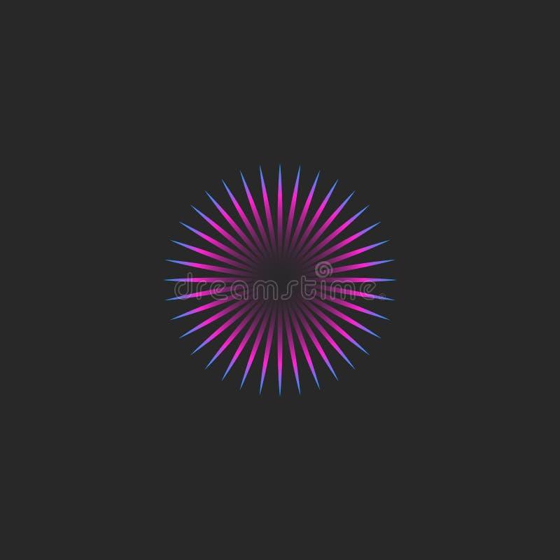 Emblema fascinador de la mirada del estilo de la ilusión redonda minimalista del logotipo, vaporwave o logotipo de neón del sol d stock de ilustración