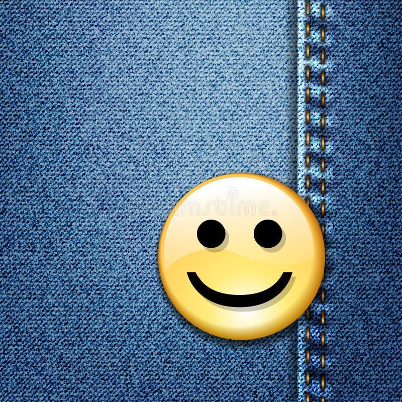 Emblema feliz da face do smiley na sarja de Nimes azul ilustração royalty free