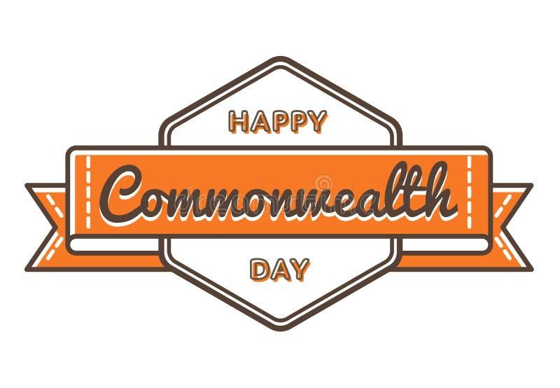 Emblema feliz del saludo del día de la Commonwealth ilustración del vector