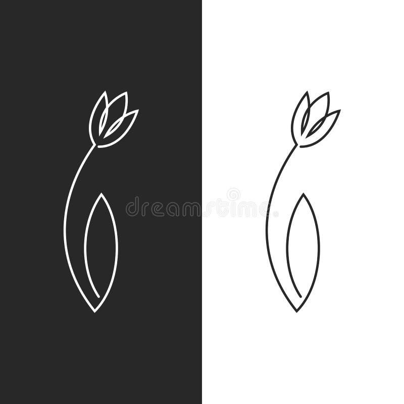 Emblema femenino de la flor de la hoja del logotipo del tulipán para el salón del balneario, el peluquero o el salón de belleza,  libre illustration
