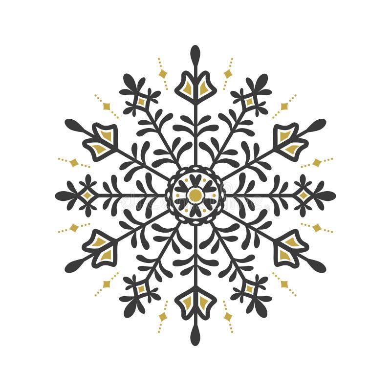 Emblema floral do floco do círculo preto e dourado do sumário no fundo branco ilustração do vetor