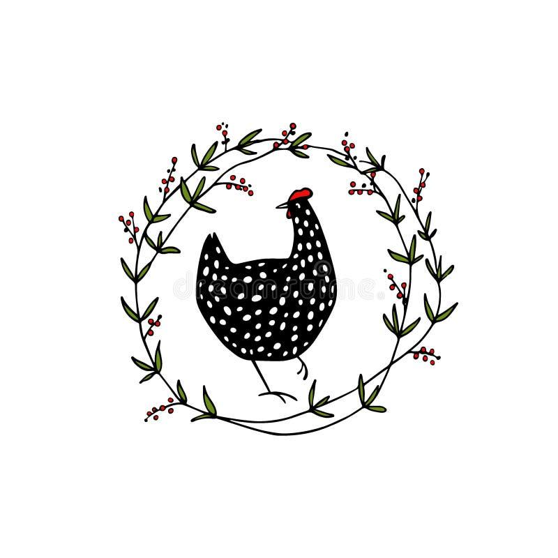 Emblema floral tirado mão da galinha fotografia de stock royalty free