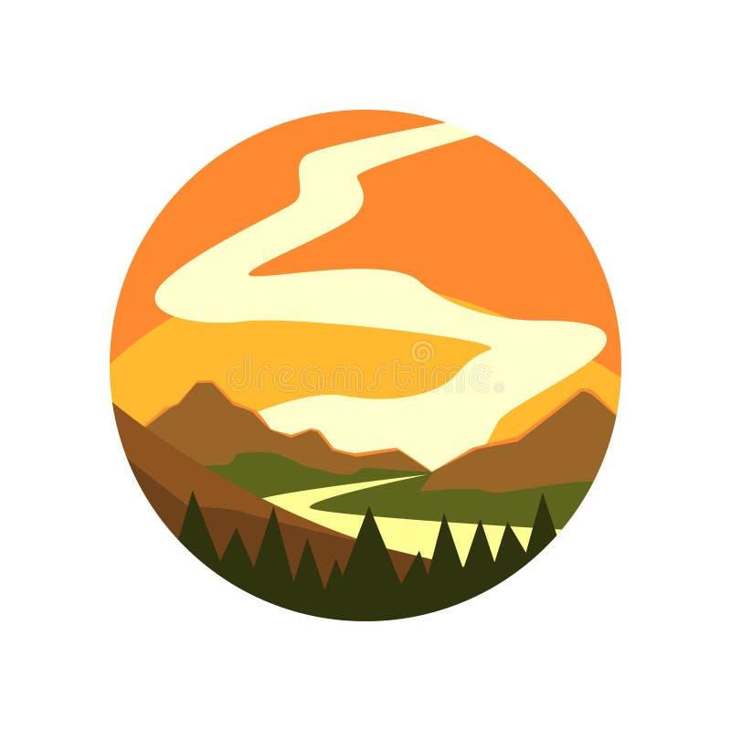 emblema a forma di rotonda di paesaggio con il bello tramonto, l'abetaia, il fiume e le montagne Icona dell'ambiente naturale sel royalty illustrazione gratis