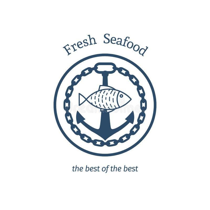 Emblema fresco del vector de los mariscos ilustración del vector