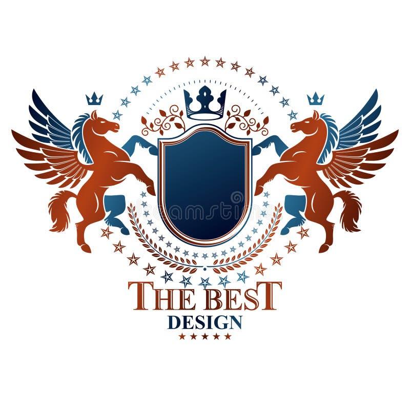 Emblema gráfico do vintage composto com anim antigo voado de Pegasus ilustração royalty free