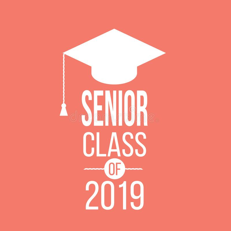 Emblema gráfico superior de graduação da classe em 2019 ilustração stock
